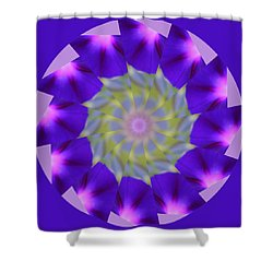 Purple Morning Glory Kaleidoscope Shower Curtain