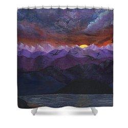 Purple Mountain Sunset Shower Curtain by Sandy Jasper