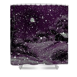 Purple Night Full Moon Shower Curtain by Barbara Griffin