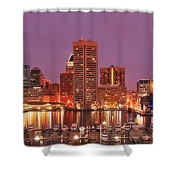 Purple Night In Baltimore Shower Curtain