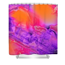 Purple Orange Pink Abstract Shower Curtain by Dee Flouton