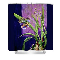 Shower Curtain featuring the painting Purple Orchids by Nancy Jolley