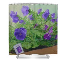 Purple Pansies Colorful Original Oil Painting Flower Garden Art  Shower Curtain by Elizabeth Sawyer
