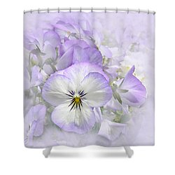Purple Pansy Flowers Shower Curtain
