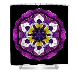Purple Pansy II Flower Mandala Shower Curtain