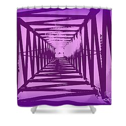 Purple Perspective Shower Curtain by Clare Bevan