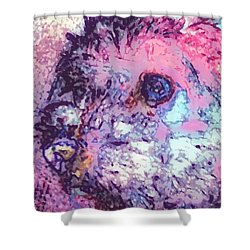 Purple Pooch Shower Curtain by Lady Ex