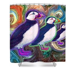 Shower Curtain featuring the mixed media Purple Puffins by Teresa Ascone