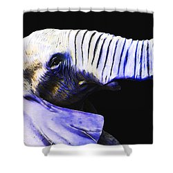 Purple Rein - Vibrant Elephant Head Shot Art Shower Curtain by Sharon Cummings