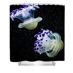 Purple Spaceships Shower Curtain