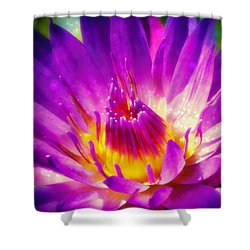 Purple Sparkle Lotus Flower Shower Curtain