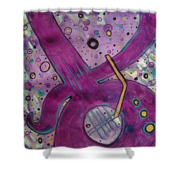 Purple Strings Shower Curtain