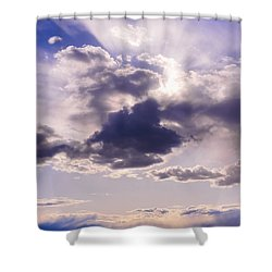 Purple Sunset On The Hudson River Shower Curtain