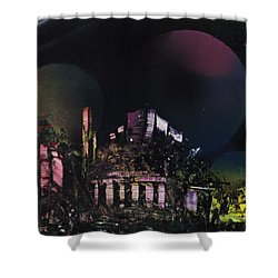Purple Temple Shower Curtain by Mike Cicirelli