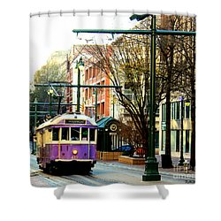 Purple Trolley Shower Curtain by Barbara Chichester