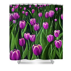 Purple Tulip Field Shower Curtain by Anastasiya Malakhova