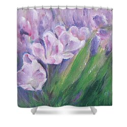 Shower Curtain featuring the painting Purple Tulips  by Jane  See