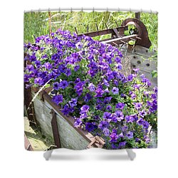Purple Wave Petunias In Rusty Horse Drawn Spreader Shower Curtain