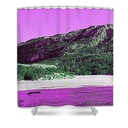Purple Winter Triptych Shower Curtain by Barbara Griffin