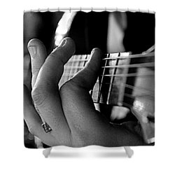 Pushing Frets Shower Curtain