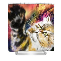 Pussy Shower Curtain by Francoise Dugourd-Caput