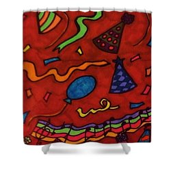 Put On Your Party Hat Shower Curtain by Christy Saunders Church