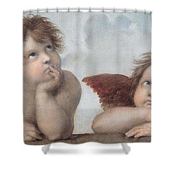 Putti Detail From The Sistine Madonna Shower Curtain by Raphael