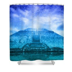 Pyramid Of The Sun Shower Curtain by WB Johnston
