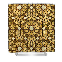 Qarawiyyin Mosque Geometric Pattern 1 Wood Shower Curtain by Hakon Soreide