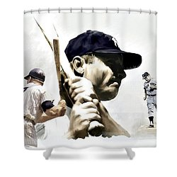 Quality Of Greatness Mickey Mantle Shower Curtain by Iconic Images Art Gallery David Pucciarelli