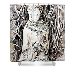 Quan Yin The Guide Through Entangled World Shower Curtain by Danuta Bennett