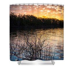 Quanah Parker Lake Sunrise Shower Curtain by Inge Johnsson