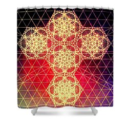 Quantum Cross Hand Drawn Shower Curtain