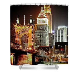 Queen City At Night Shower Curtain by Keith Allen