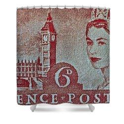 Queen Elizabeth II Big Ben Stamp Shower Curtain