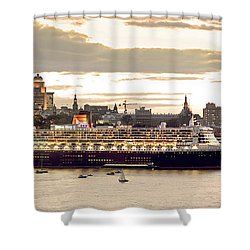Queen Mary II Cruise Ship, Chateau Shower Curtain by Jean Desy