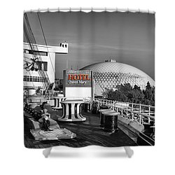 Queen Mary On Deck Shower Curtain by Mariola Bitner