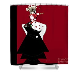 Shower Curtain featuring the digital art Queen Of Hearts by Ann Calvo