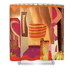 Shower Curtain featuring the mixed media Questions by Mary Bedy
