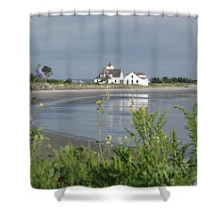 Quiet Beach Nahant Shower Curtain by Barbara McDevitt