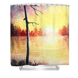 Quiet Evening By The River Shower Curtain by Nirdesha Munasinghe