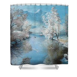 Quiet Ice  Shower Curtain