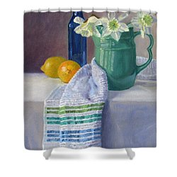 Quiet Moment- Daffodils In A Blue Green Pitcher With Lemons Shower Curtain