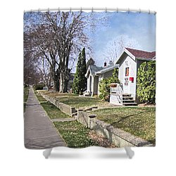 Shower Curtain featuring the digital art Quiet Street Waiting For Spring by Donald S Hall