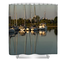 Quiet Summer Afternoon - Sailboats And Downtown Skyline Shower Curtain by Georgia Mizuleva