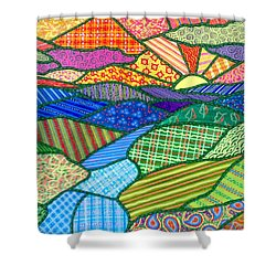 Quilted Appalachian Sunset Shower Curtain