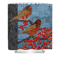 Shower Curtain featuring the digital art Sagebrush Sparrow Short by Kim Prowse