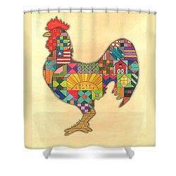 Quilted Rooster Shower Curtain