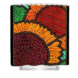 Quilted Sunflower Duo Shower Curtain by Jim Harris