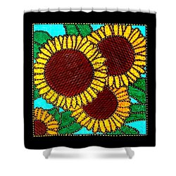 Quilted Sunflowers Shower Curtain by Jim Harris